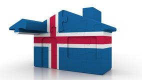 Casa di puzzle della costruzione che caratterizza bandiera dell'Islanda Emigrazione, costruzione o mercato immobiliare islandese  illustrazione vettoriale