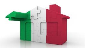 Casa di puzzle della costruzione che caratterizza bandiera dell'Italia Emigrazione, costruzione o mercato immobiliare italiana 3D illustrazione vettoriale