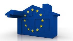 Casa di puzzle della costruzione che caratterizza bandiera dell'Unione Europea Rappresentazione concettuale 3D di emigrazione o d royalty illustrazione gratis