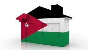Casa di puzzle della costruzione che caratterizza bandiera della Giordania Emigrazione giordana, costruzione o mercato immobiliar illustrazione di stock