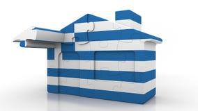Casa di puzzle della costruzione che caratterizza bandiera della Grecia Emigrazione, costruzione o mercato immobiliare greca 3D c royalty illustrazione gratis