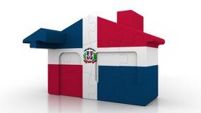 Casa di puzzle della costruzione che caratterizza bandiera della Repubblica dominicana Emigrazione, costruzione o mercato immobil royalty illustrazione gratis