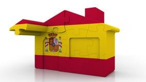 Casa di puzzle della costruzione che caratterizza bandiera della Spagna Emigrazione, costruzione o mercato immobiliare spagnola 3 illustrazione vettoriale