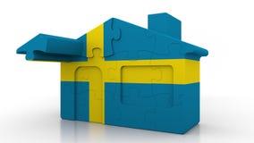 Casa di puzzle della costruzione che caratterizza bandiera della Svezia Emigrazione, costruzione o mercato immobiliare svedese 3D illustrazione di stock