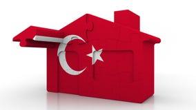 Casa di puzzle della costruzione che caratterizza bandiera della Turchia Emigrazione, costruzione o mercato immobiliare turca 3D  royalty illustrazione gratis