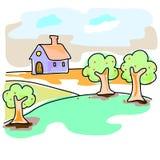 Casa di sogno disegnata a mano nel paesaggio naturale Fotografie Stock