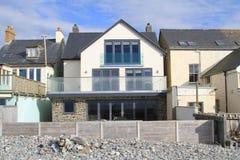 Casa di spiaggia in Borth, Galles Fotografie Stock Libere da Diritti