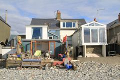 Casa di spiaggia in Borth, Galles Fotografia Stock Libera da Diritti
