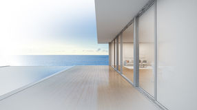 Casa di spiaggia di lusso con la piscina di vista del mare, progettazione di schizzo della casa di vacanza moderna Immagine Stock Libera da Diritti