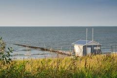 Casa di spiaggia lungo la linea costiera del Mare del Nord, Male di Cadzand, Paesi Bassi immagini stock libere da diritti