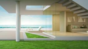 Casa di spiaggia di lusso con il salone di vista del mare e terrazzo nella progettazione moderna stock footage