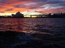 Casa di Sydney Opera del tramonto Fotografia Stock Libera da Diritti