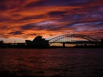 Casa di Sydney Opera del tramonto Immagine Stock Libera da Diritti
