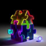 Casa di vetro al neon di puzzle Fotografia Stock