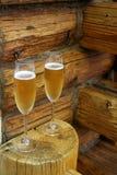 Casa di vetro del ceppo del champagne due Fotografie Stock Libere da Diritti