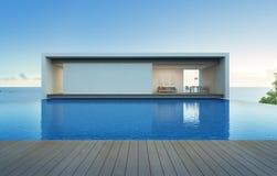 Casa di vista del mare con lo stagno ed il terrazzo, villa di lusso di festa Immagini Stock
