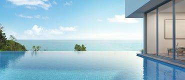 Casa di vista del mare con lo stagno nella progettazione moderna Immagine Stock