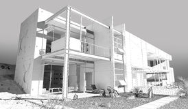 Casa di Wireframe Fotografia Stock