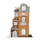 Casa dibujada mano del vintage Colección del vector de bui famoso del bosquejo Foto de archivo