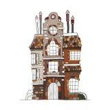 Casa dibujada mano del vintage Colección del vector de bui famoso del bosquejo Imagen de archivo libre de regalías
