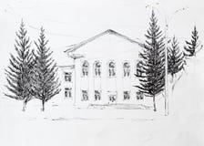 Casa, dibujo de lápiz fotografía de archivo libre de regalías