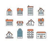 A casa diferente mostra em silhueta a coleção Imagens de Stock Royalty Free