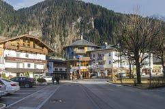 Casa dipinta divertente Mayrhofen, Tirolo, Austria Fotografia Stock