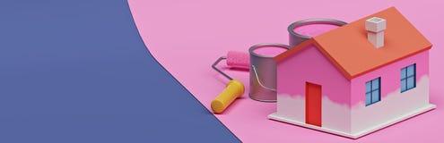 Casa dipinta metà con le attrezzature della pittura rappresentazione 3d illustrazione di stock