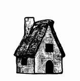 Casa disegnata a mano di schizzo su fondo bianco Immagine Stock