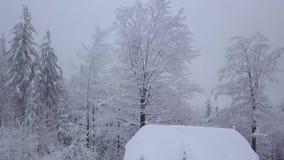 Casa a distanza in nevi del legno stock footage
