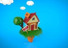 Casa divertida de la historieta en la estación de verano, con las nubes azules Foto de archivo libre de regalías