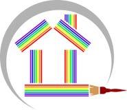 Casa do arco-íris com escova de pintura ilustração do vetor