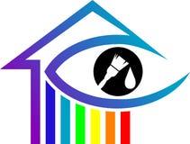 Casa do arco-íris com olho, escova de pintura ilustração stock