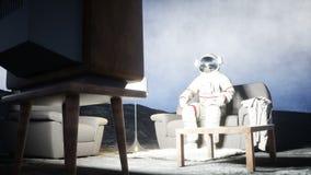 Casa do astronauta na lua que olha a tevê Animação 4K realística filme