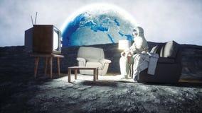 Casa do astronauta na lua que olha a tevê Animação 4K realística vídeos de arquivo