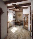 A casa do banho do estilo country, 3D rende Fotos de Stock Royalty Free