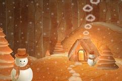 Casa do boneco de neve do pão Fotografia de Stock Royalty Free