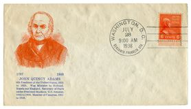 Casa do branco da C C , Os EUA - 28 de julho de 1938: Envelope histórico dos E.U.: tampa com o retrato do prestígio do 6o preside fotos de stock royalty free