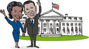 Casa do branco de Barack e de Michelle ilustração stock