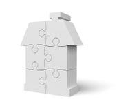 Casa do branco do enigma de serra de vaivém Fotografia de Stock