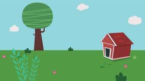 Casa do cão no jardim com céu ilustração stock