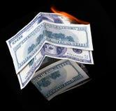 Casa do dólar. fogo Fotografia de Stock