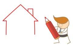 casa do desenho do homem de negócio Fotografia de Stock