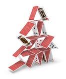 Casa do desmoronamento da torre 3D dos cartões Imagens de Stock Royalty Free