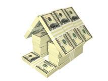 A casa do dinheiro do bloco das contas de dólar isolou-se Imagem de Stock Royalty Free