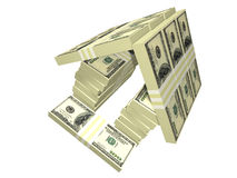 A casa do dinheiro do bloco das contas de dólar isolou-se Foto de Stock