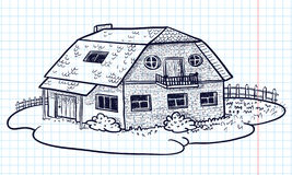 Casa do Doodle Fotografia de Stock Royalty Free