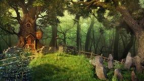 Casa do duende da floresta ilustração stock