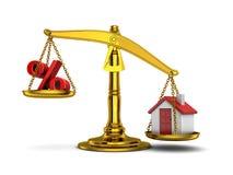 Casa do equilíbrio para baixo e por cento Imagens de Stock