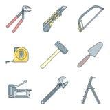 A casa do esboço da cor remodela ícones das ferramentas Imagens de Stock
